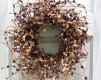 Candle Wreath with Mulberry and Tan Pip Berries