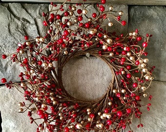 Red and Gold Pip Berry Wreath