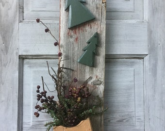 Christmas Wall Hanging with Pine Trees and Berries