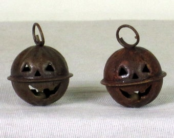 Mini Rusty Jingle Bell Jack-O Lantern Ornaments