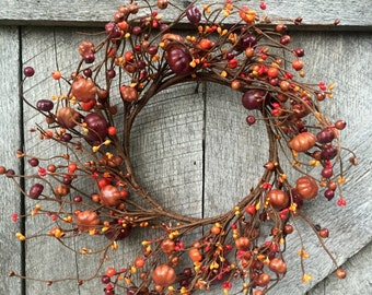 Autumn Wreath with Mini Pumpkins and Pip Berries