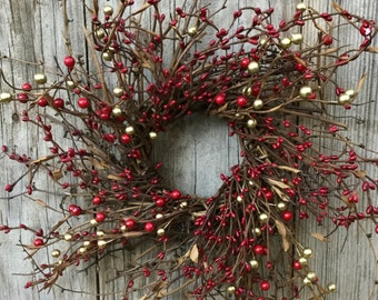 Red and Gold Mixed Berry Country Christmas Wreath