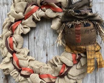 Primitive Scarecrow and Burlap Wreath