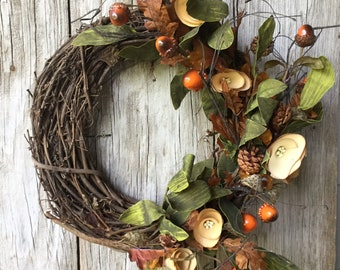 Fall Wreath with Wood Flowers, Acorns and Pine Cones