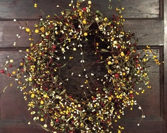 Extra Large Christmas Wreath With Red, Green, Yellow and Cream Berries
