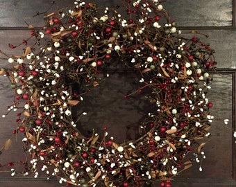 Country Christmas Wreath with Mixed Berries