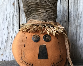 Stuffed Pumpkin Head with Burlap Hat