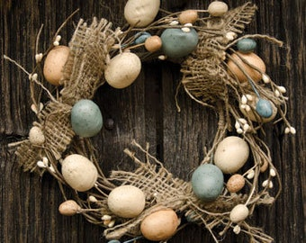 Easter Egg Candle Ring with Burlap Bows