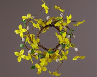 Forsythia and Pussy Willow Candle Rings