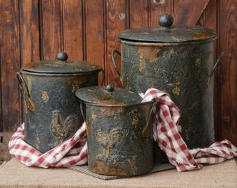 Rooster Embossed Kitchen Canister Set