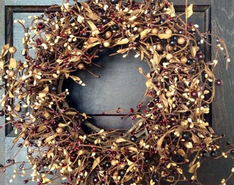 Fall Wreath with Burgundy, Mulberry and Tan Berries