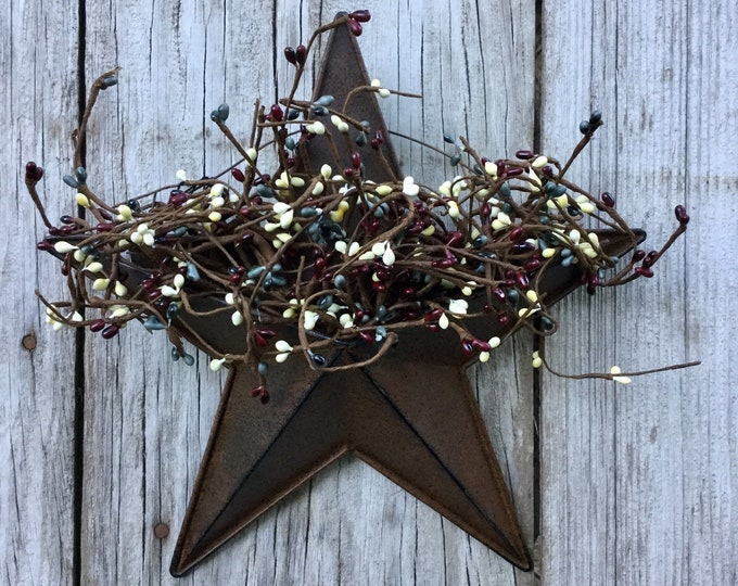 Featured listing image: Wall Pocket Barn Star with Mixed Pip Berries