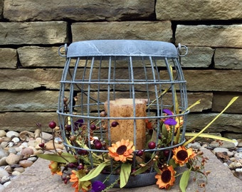Fall Centerpiece with Zinc Metal Basket, Fall Flowers and Flameless Candle