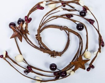 Mini Pip Berry Candle Ring with Rusty Stars,,Mini Wreath,Candle Ring Centerpiece,Primitive Wreath,Americana Decor,Free Shipping