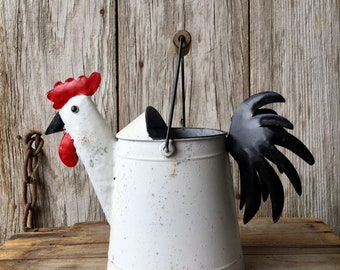 Metal Rooster Watering Can, Chicken Watering Can, Rooster Decor, Chicken Decor, Kitchen Decor, Garden Decor, Primitive Rooster