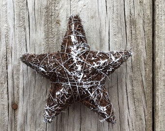 Angel Vine Star Ornament with Snow and Glitter