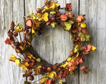 Autumn Flowers and Berries Mini Wreath or Candle Ring