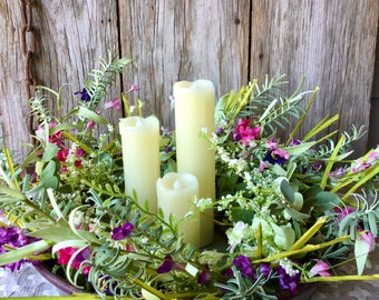 Spring Floral Centerpiece with 3 Wick Flameless Candle