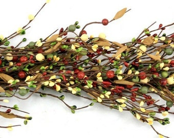 Pip Berry Garland-Christmas Garland - Burnt Red, Olive and Butter Berry Garland-Primitive Garland-Primitive Decor-Rustic Decor-Free Shipping