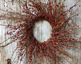 Twig Wreath with Red Pip Berries