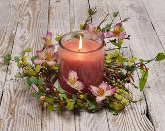 Pink Crocus and Pip Berry Candle Ring