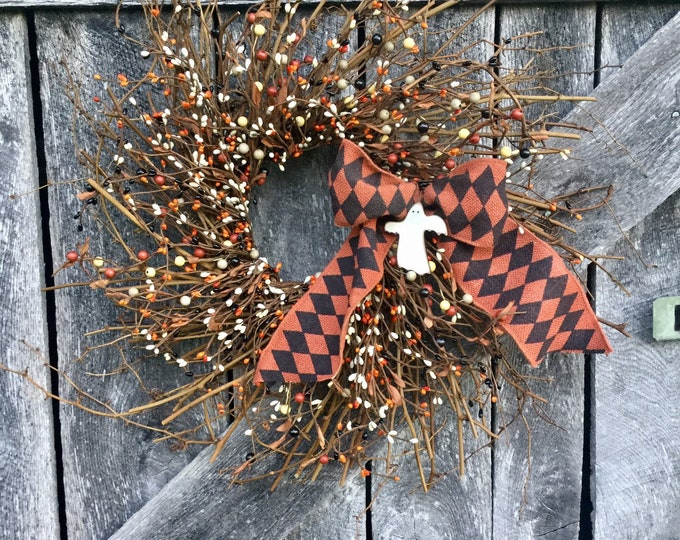 Featured listing image: Halloween Wreath with Pip Berries and Ghost Ornament