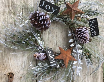 Holiday Wreath with Icy Pine Needles, Rusty Stars, Berries and Pine Cones