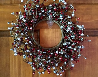 Red and Silver Pip Berry Wreath