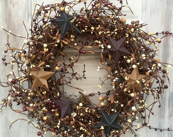 Patriotic Wreath with Barn Stars