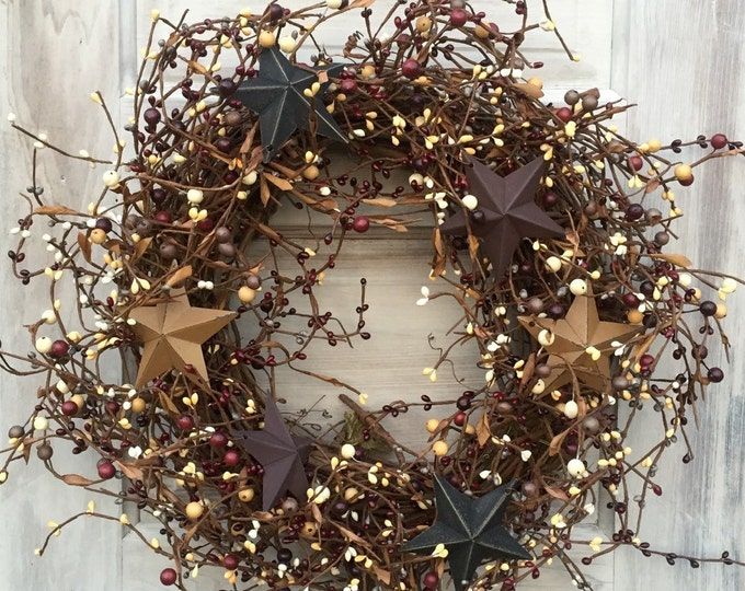Featured listing image: Primitive Americana Wreath with Pip Berries and Barn Stars