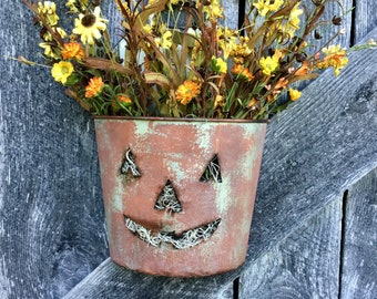 Jack O Lantern Wall Bucket with Fall Flowers