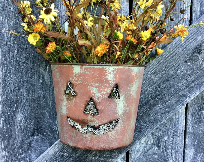 Featured listing image: Jack O Lantern Wall Bucket with Fall Flowers
