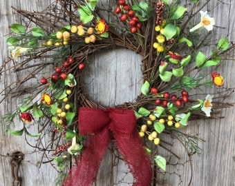 Fall Twig Wreath with Flowers, Berry Clusters and Leaves