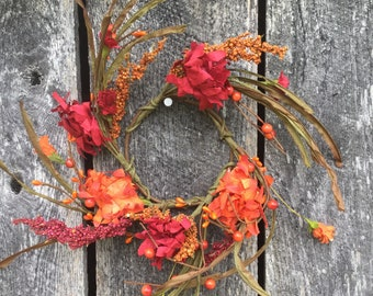 Fall Candle Ring with Orange and Red Flowers and Berries