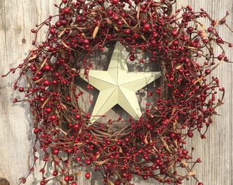 Patriotic Wreath with Red Pip Berries and Barn Star Center,Americana Wreath,Pip Berry Wreath with Barn Star,July 4th Wreath,Primitive Wreath