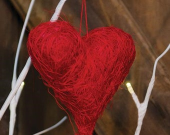 "Red Sisal Heart Ornament 3.5"""