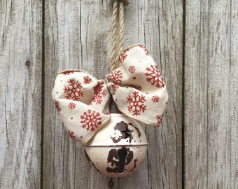Rustic White Bell with Snowflake Bow