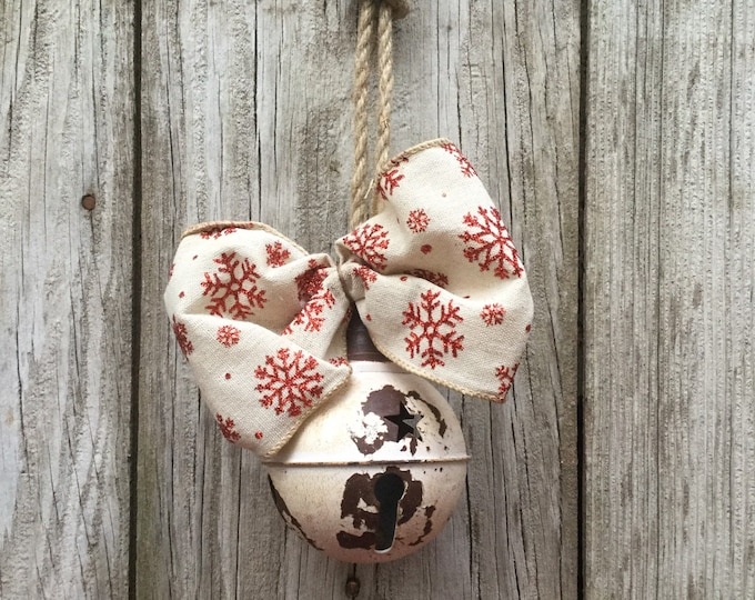 Featured listing image: Rustic White Bell with Snowflake Bow