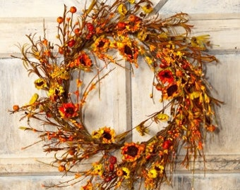 Fall Wreath with Pip Berries, Baby Pumpkins and Sunflowers - Fall Wreath - Fall Centerpiece with Baby Pumpkins- Pumpkin Decor -Free Shipping