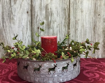 Christmas Centerpiece with Metal Tin, Christmas Greens, Berries and Flameless Candle