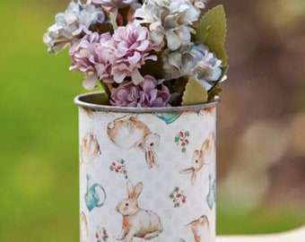 Vintage Style Bunny Metal Can