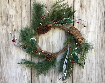 Pine Wreath with Mini Red Jingle Bells