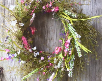 Spring Wreath with White, Pink and Purple Flowers
