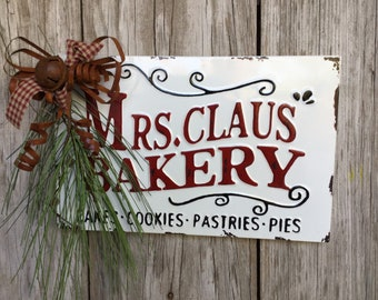 Mrs Claus Bakery Sign with Pine and Rusty Bow, Christmas Decor, Santa Claus Decor, Bakery Sign, Mrs. Claus, Christmas Sign, Free Shipping