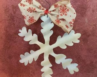 Large Corrugated Metal Snowflake with Snowflake Ribbon
