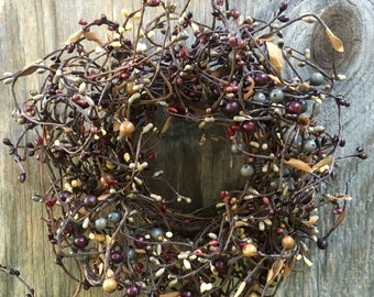 Pip Berry Candle Ring-Small Wreath-Fall Decor-Grapevine Wreath-Pip Berry Centerpiece-Primitive Centerpiece-Rustic Centerpiece- Free Shipping