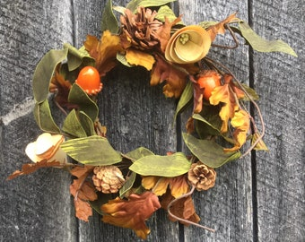Fall Candle Ring with Acorns, Pine Cones and Fall Foliage