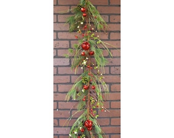 Winter Garland with Pine Cones, Winter Greens, Pip Berries and Jingle Bells