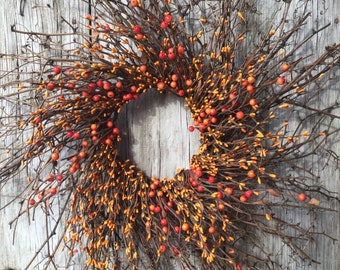 Twig Sunburst Wreath with Orange Pip Berries