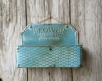 Blue Flower Market Metal Wall Basket